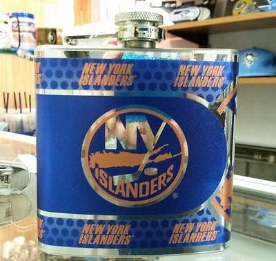 NHL New York Islanders 6 oz Hip Flask with Hi-Def Metallic Wrap