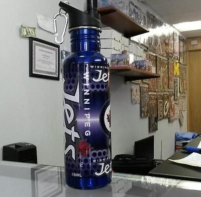 NHL Winnipeg Jets 26 oz. Blue Stainless Steel Water Bottle with 360 Wrap - Hockey Cards Plus LLC