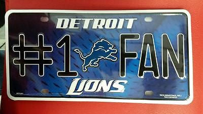 NFL Detroit Lions Metal #1 Fan License Plate - Hockey Cards Plus LLC
