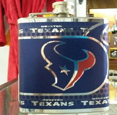 NFL Houston Texans 6oz Stainless Steel Flask with 360 Wrap - Hockey Cards Plus LLC  - 1
