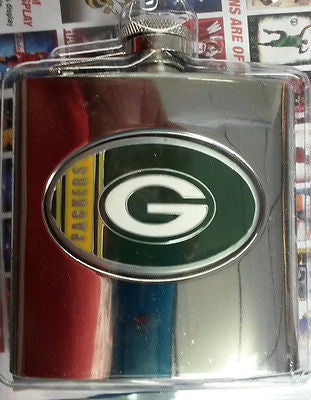NFL Green Bay Packers  6oz Stainless Steel Hip Flask - Hockey Cards Plus LLC
