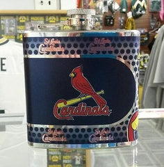 MLB St. Louis Cardinals 6oz Stainless Steel Flask with 360 Wrap - Hockey Cards Plus LLC