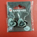 NFL Oakland Raiders Silver Swirl Heart Dangle Earrings - Hockey Cards Plus LLC