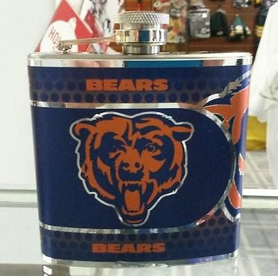 NFL Chicago Bears 6oz Hip Flask with Hi-Def Metallic Wrap