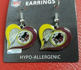 NFL Washington Redskins Silver Swirl Heart Dangle Earrings - Hockey Cards Plus LLC