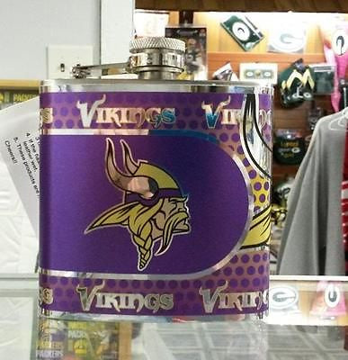 NFL Minnesota Vikings 6oz Stainless Steel Flask with 360 Wrap - Hockey Cards Plus LLC  - 1