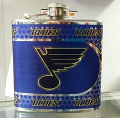 NHL St. Louis Blues 6 oz Hip Flask with 360 Wrap - Hockey Cards Plus LLC  - 1