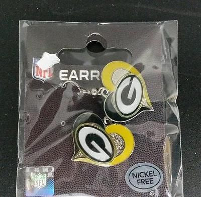 NFL Green Bay Packers Silver Swirl Heart Dangle Earrings - Hockey Cards Plus LLC