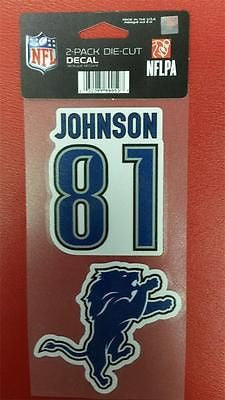 "NFL Detroit Lions Calvin Johnson Perfect Cut Decal 4"" x 8"" Sheet    w/ 2 Decals - Hockey Cards Plus LLC"