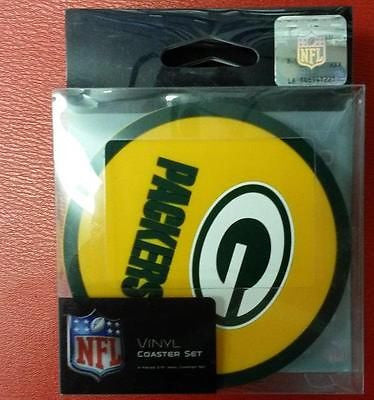NFL Green Bay Packers 4 Pack Vinyl Coaster Set - Hockey Cards Plus LLC