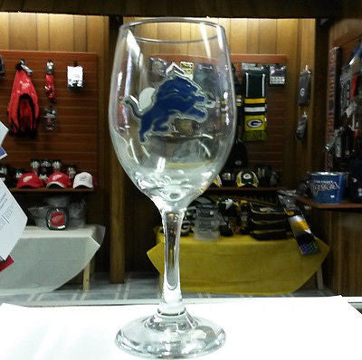 NFL Detroit Lions 14oz Wine Glass with Team Logo - Hockey Cards Plus LLC