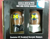 NCAA Michigan Wolverines Sculpted Ceramic Football Salt and Pepper Shakers - Hockey Cards Plus LLC