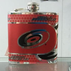 NHL Carolina Hurricanes 6 oz Stainless Steel Hip Flask with 360 Wrap - Hockey Cards Plus LLC  - 1