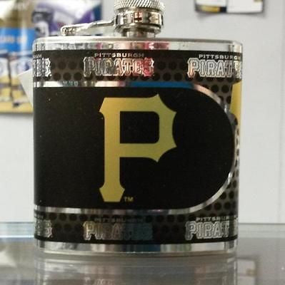 MLB Pittsburgh Pirates 6oz Stainless Steel Flask with 360 Wrap - Hockey Cards Plus LLC