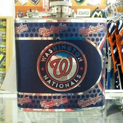 MLB Washington Nationals 6oz Stainless Steel Flask with 360 Wrap - Hockey Cards Plus LLC
