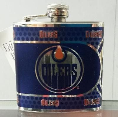 NHL Edmonton Oilers 6 oz Stainless Steel Hip Flask with 360 Wrap - Hockey Cards Plus LLC  - 1