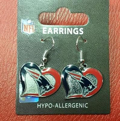 NFL New England Patriots Silver Swirl Heart Dangle Earrings - Hockey Cards Plus LLC