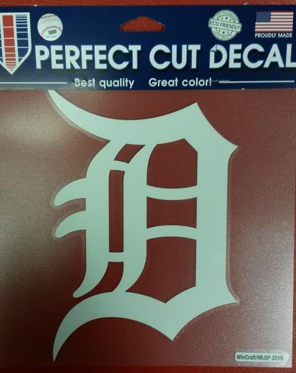 "MLB Detroit Tigers White Perfect Cut Color Decal 6"" X 7"""