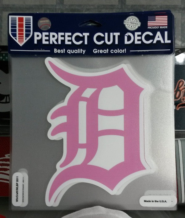 "MLB Detroit Tigers Pink BCA Perfect Cut Color Decal 8"" X 8"""