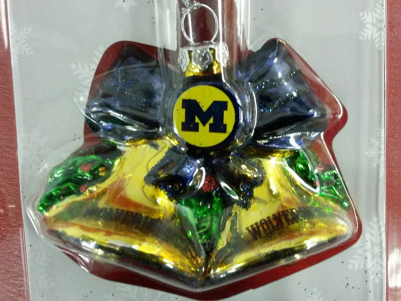 NCAA Michigan Wolverines Glitter Bell Christmas Ornament