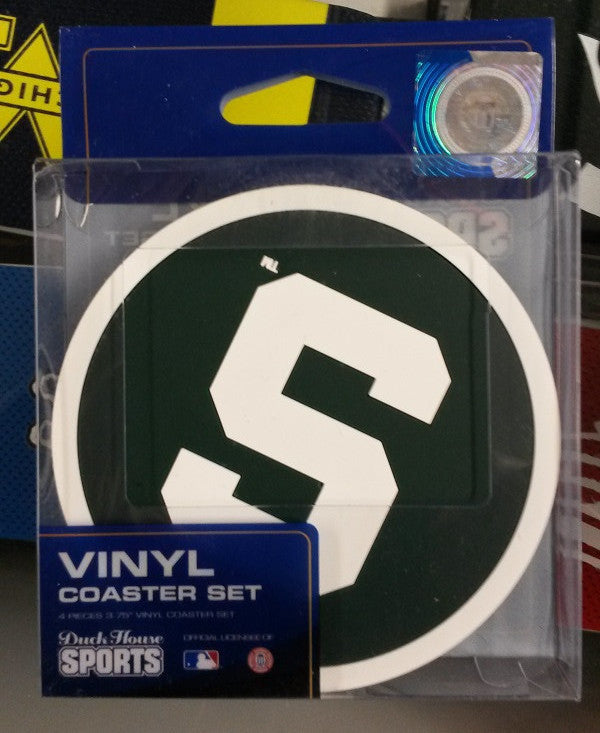 NCAA Michigan State Spartans 4 Pack Vinyl Coaster Set - Hockey Cards Plus LLC