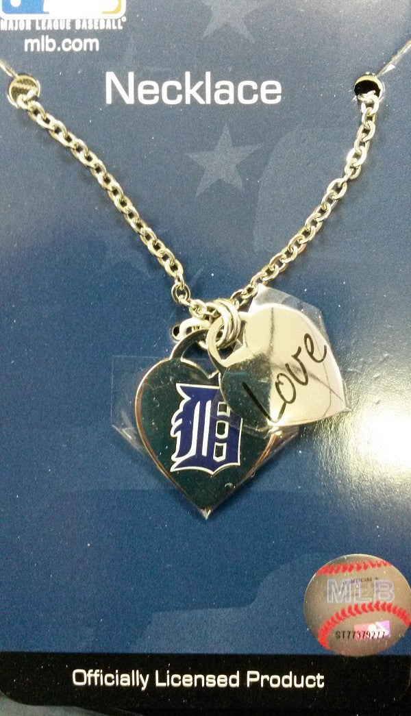MLB Detroit Tigers Heart / Charm Necklace - Hockey Cards Plus LLC