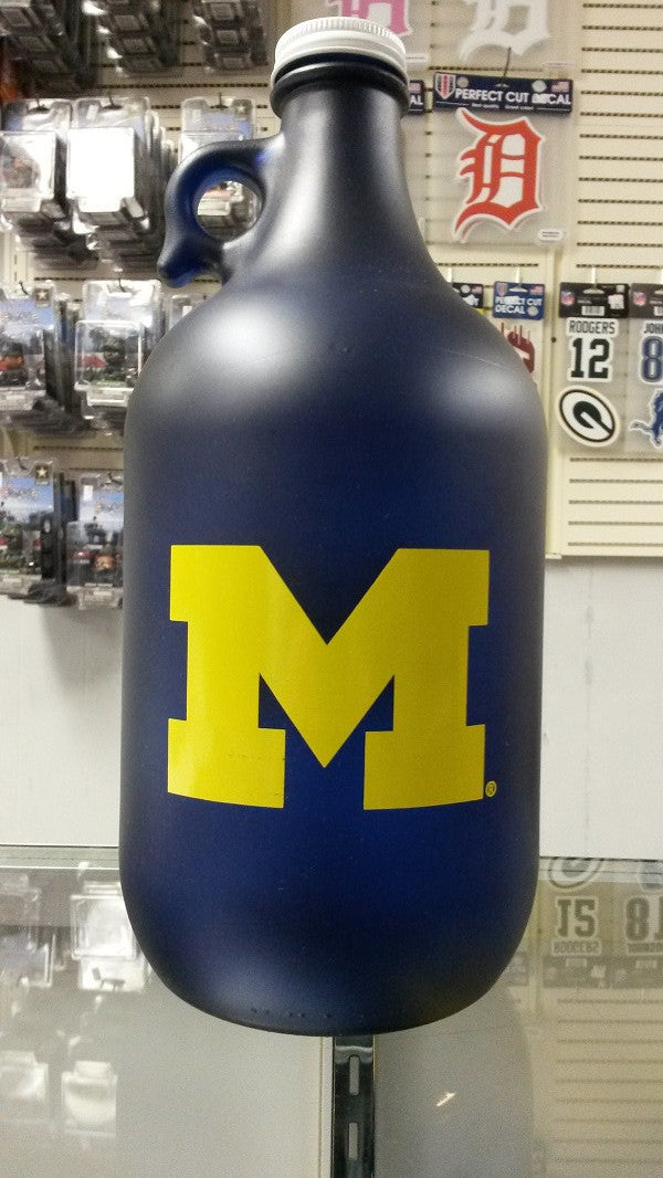 NCAA Michigan Wolverines 64oz Color Frosted Collectible Growler with Team Logo - Hockey Cards Plus LLC