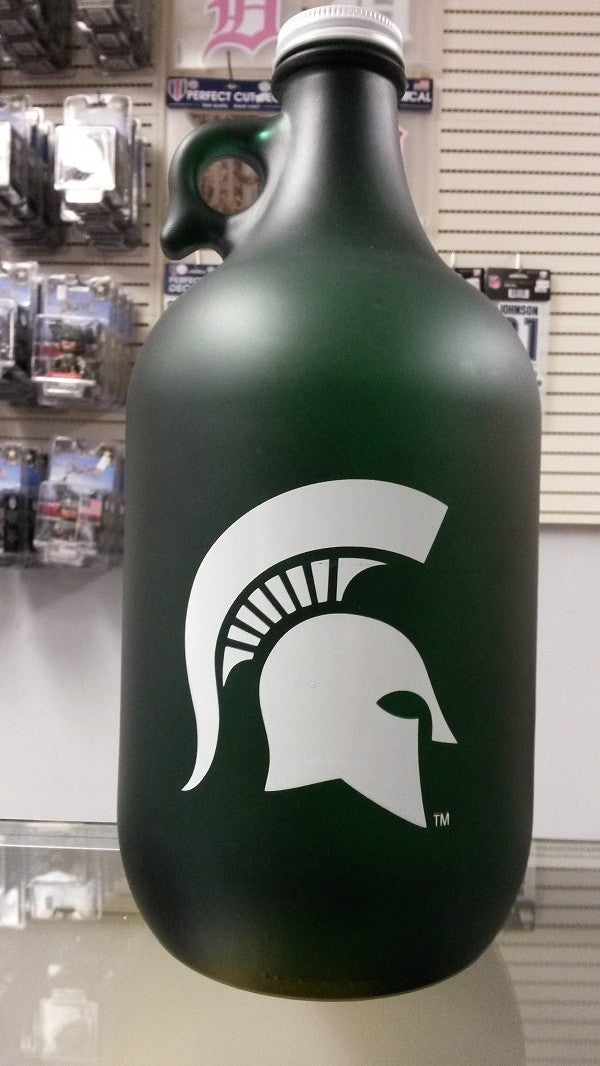 NCAA Michigan State Spartans 64oz Color Frosted Collectible Growler with Logo - Hockey Cards Plus LLC