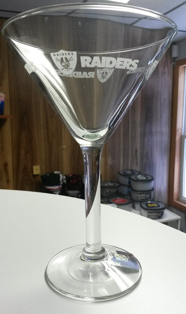 NFL Oakland Raiders 10oz Satin Etch Martini Glass - Hockey Cards Plus LLC
