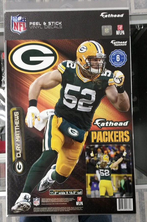 NFL Green Bay Packers Clay Matthews 11.5″ X 16.5″ Fathead Wall Graphic