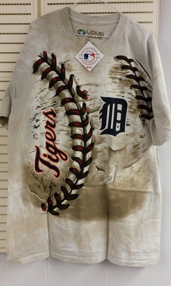 MLB Detroit Tigers Men's 3D-Style Hardball Tie-Dye T-Shirt - Hockey Cards Plus LLC  - 1