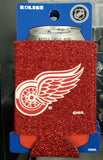 NHL Detroit Red Wings Glitter Red Neoprene Can Holder / Can Coozie - Hockey Cards Plus LLC