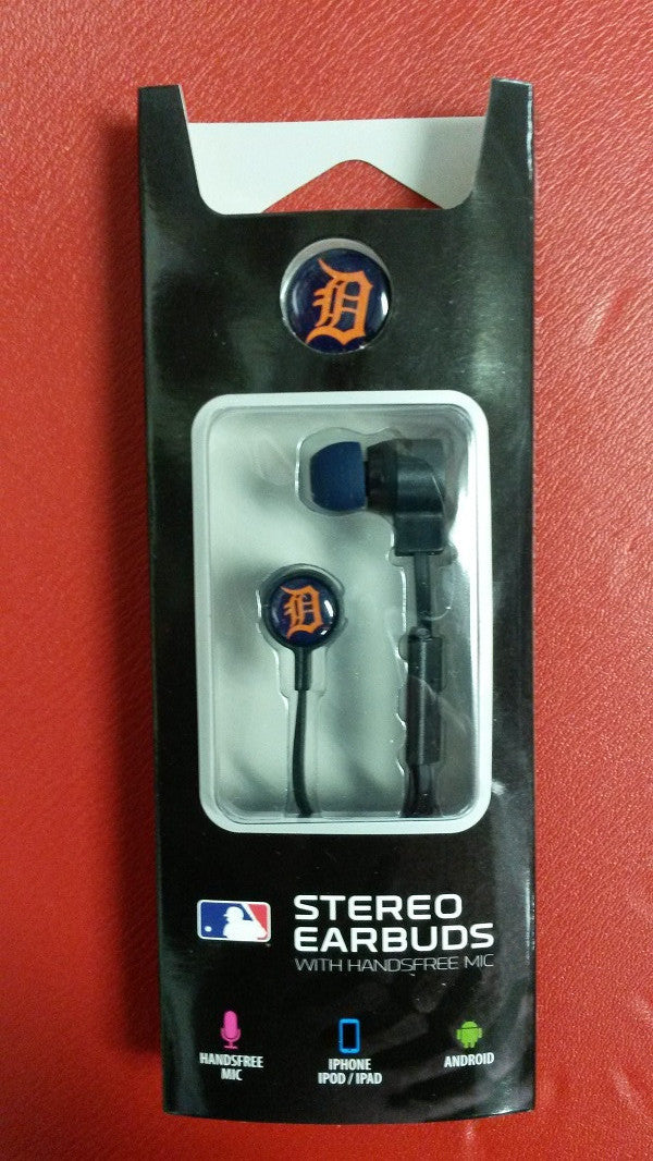 MLB Licensed Detroit Tigers Mizco Big Logo Stereo Earbuds with Hands Free Mic - Hockey Cards Plus LLC