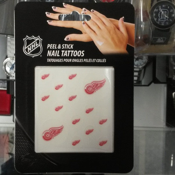 NHL Detroit Red Wings Face & Fingernail Tattoos - Hockey Cards Plus LLC