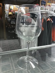 "NFL 2015 Super Bowl Champion New England Patriots ""4 Time Champion"" Wine Glass"