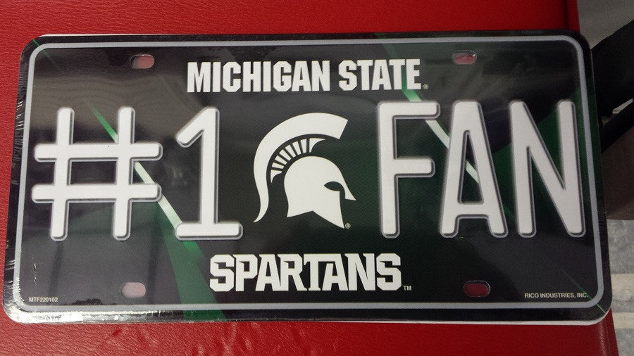 NCAA Michigan State Spartans Metal #1 Fan License Plate