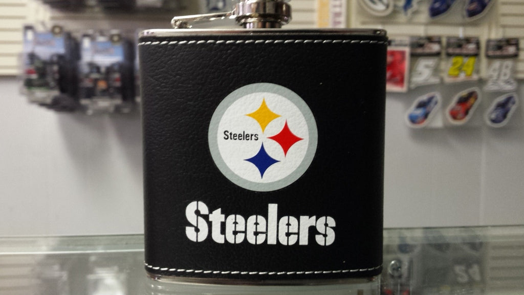 NFL Pittsburgh Steelers 6oz Stainless Steel Leather Wrapped Flask