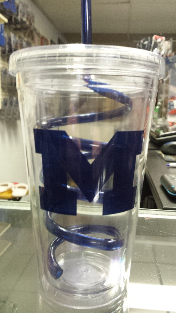 NCAA Michigan Wolverines 18oz Tumbler with Swirl Straw