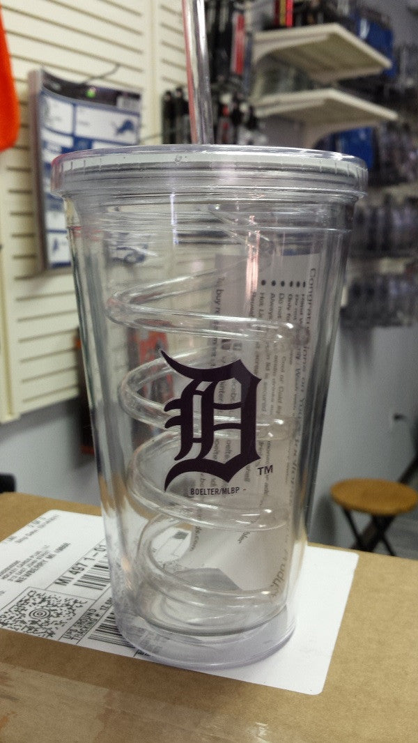MLB Detroit Tigers 18oz Tumbler with Swirl Straw
