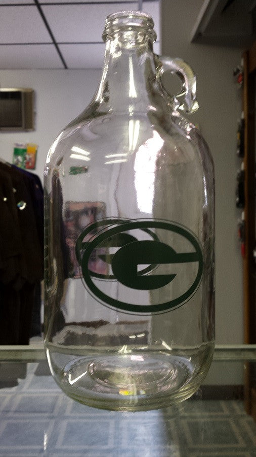 NFL Green Bay Packers 64oz Clear Collectible Growler with Team Logo and Name
