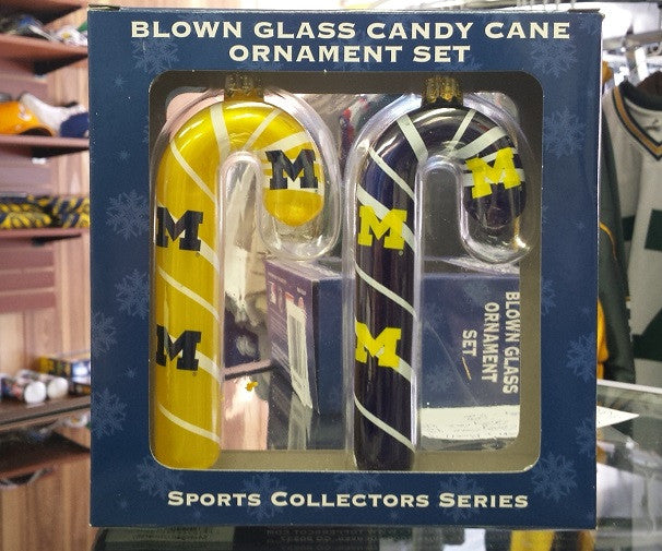 NCAA Michigan Wolverines 2pc Candy Cane Ornament Set