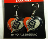 MLB Detroit Tigers Silver Swirl Heart Dangle Earrings