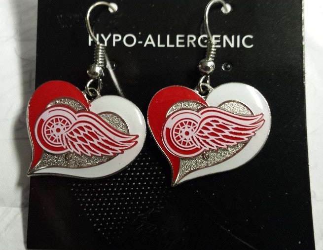 NHL Detroit Red Wings Silver Swirl Heart Dangle Earrings