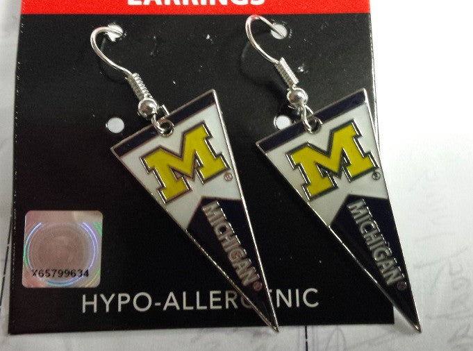 NCAA Michigan Wolverines Pennant Silver Dangle Earrings