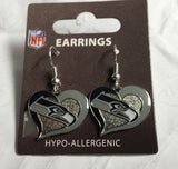 NFL Seattle Seahawks Silver Swirl Heart Dangle Earrings