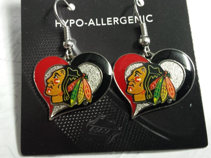 NHL Chicago Blackhawks Silver Swirl Heart Dangle Earrings