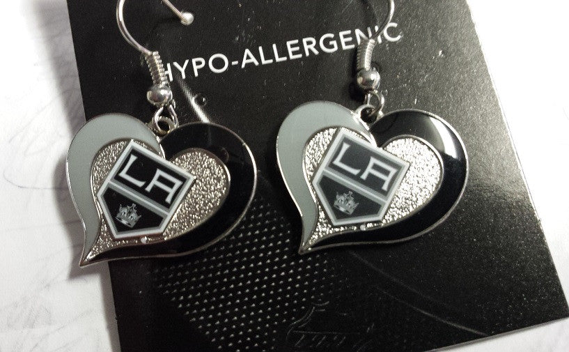 NHL Los Angeles Kings Silver Swirl Heart Dangle Earrings