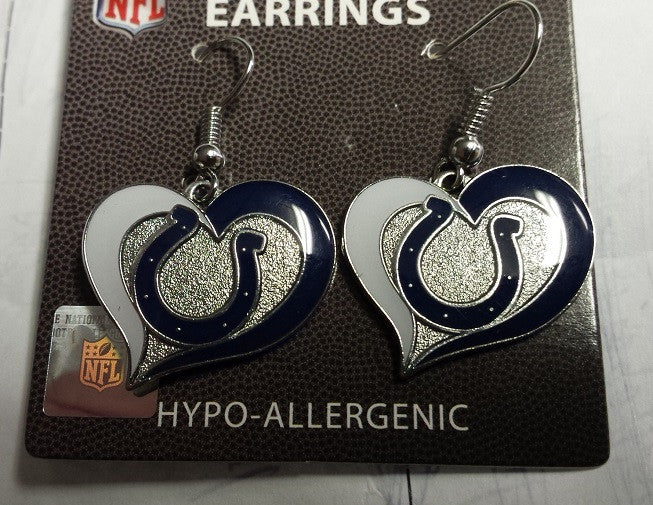 NFL Indianapolis Colts Silver Swirl Heart Dangle Earrings