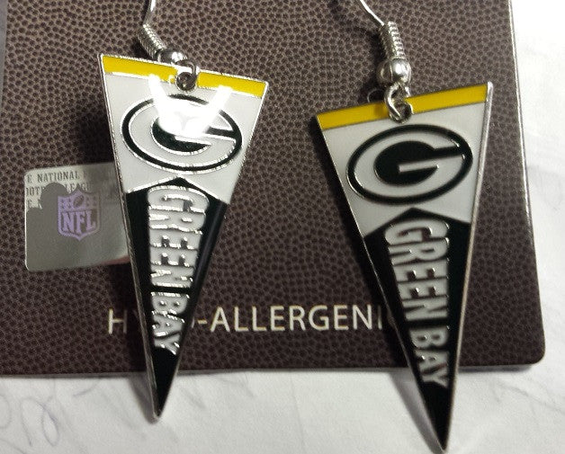 NFL Green Bay Packers Pennant Silver Dangle Earrings