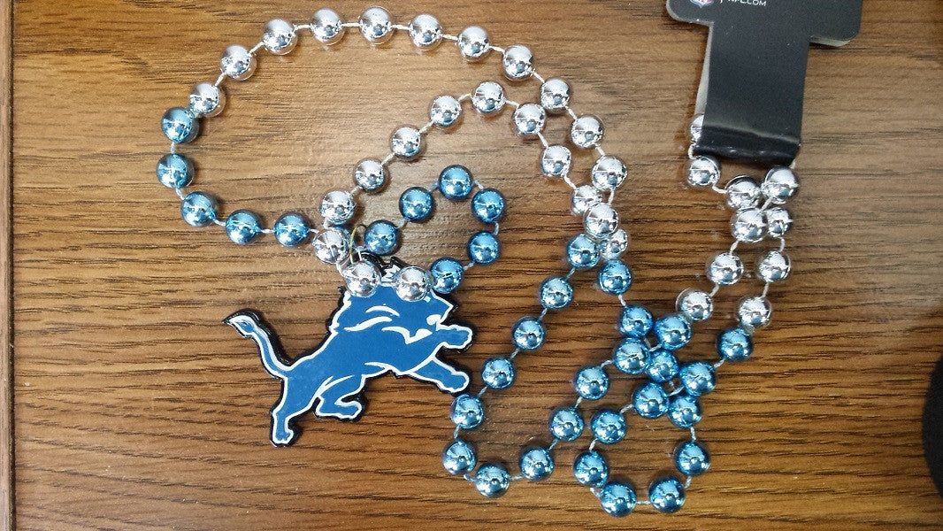 NFL Detroit Lions Mardi Gras Beads with Medallion
